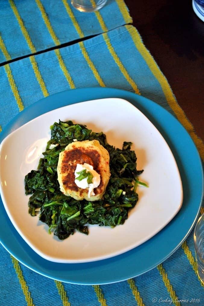 Mashed Potato Pancakes over Garlic Sauteed Greens - a Thanksgiving Leftover Recipe (3)