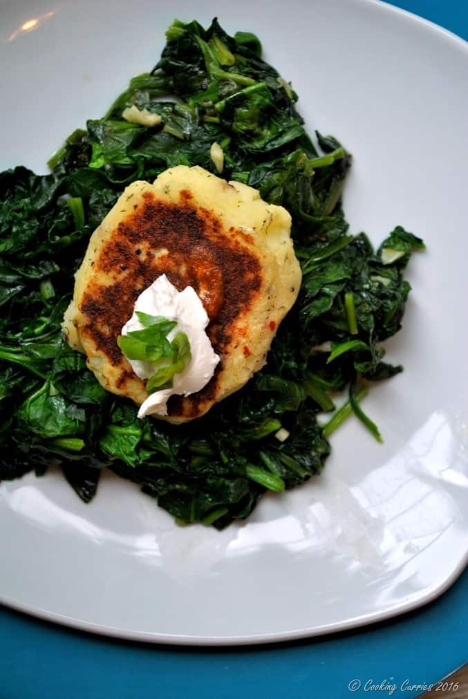 Mashed Potato Pancakes over Garlic Sauteed Greens - a Thanksgiving Leftover Recipe (4)