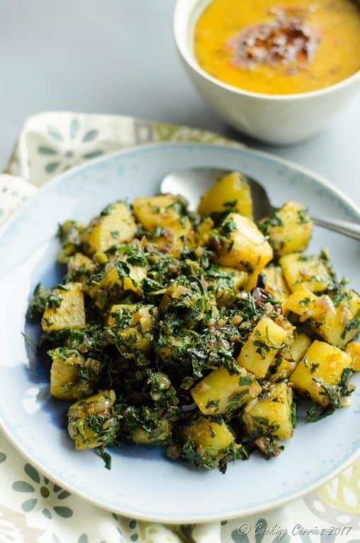 Aloo Methi - Potatoes with Fenugreek Leaves - Cooking Curries