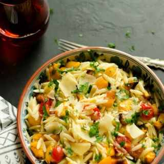 Roasted Butternut Squash and Cherry Tomatoes Orzo