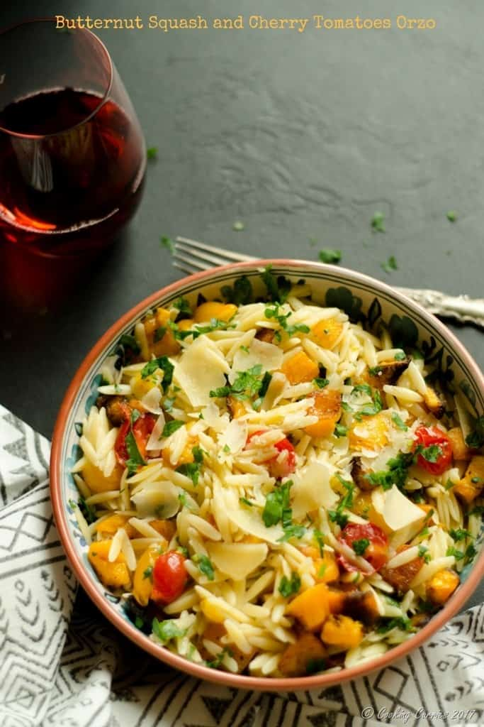 Butternut Squash and Cherry Tomatoes Orzo