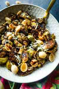 Roasted Garlic Brussels Sprouts with Maple Balsamic