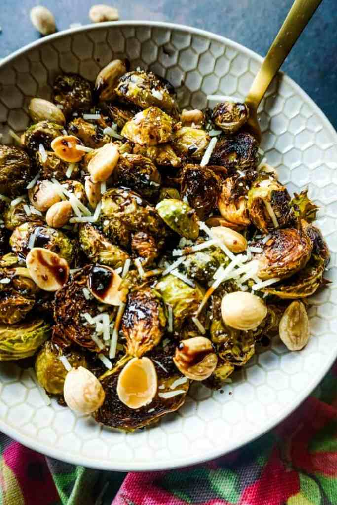 Roasted Garlic Brussels Sprouts with Maple Balsamic and Toasted Marcona Almonds