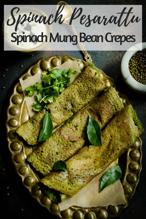These instant gluten free crepes, Spinach Pesarattu, are power packed with green mung bean and spinach and can be enjoyed with a side of your favorite coconut chutney for breakfast, lunch, dinner or even a snack! #IndianFood #GlutenFree #Vegan