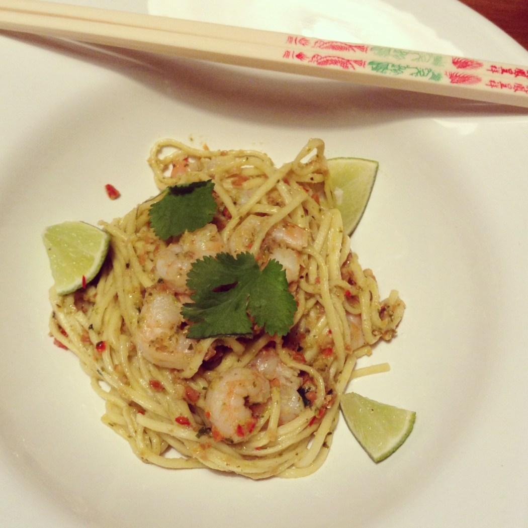 Thaise noedels met garnalen