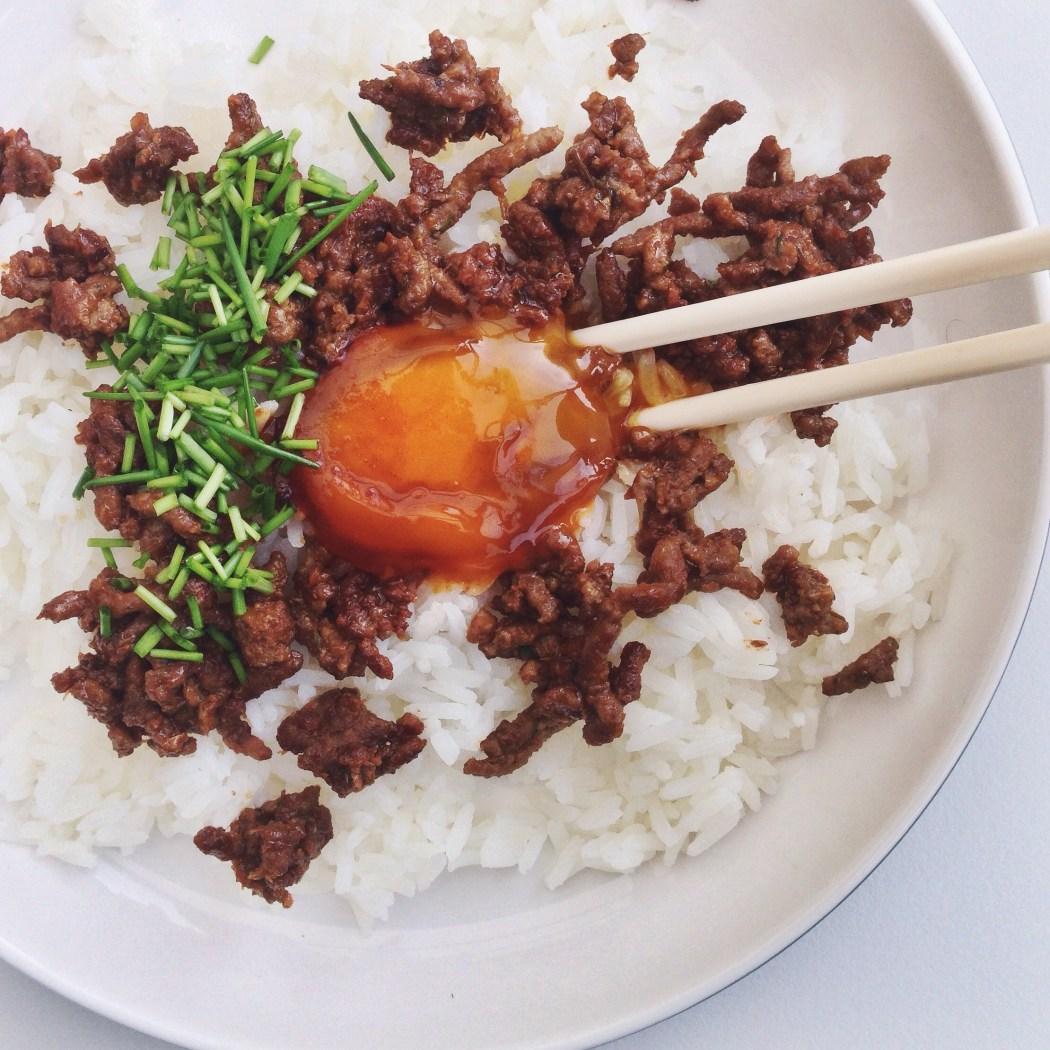 Gezouten eierdooier met gehakt en rijst, by Cookingdom
