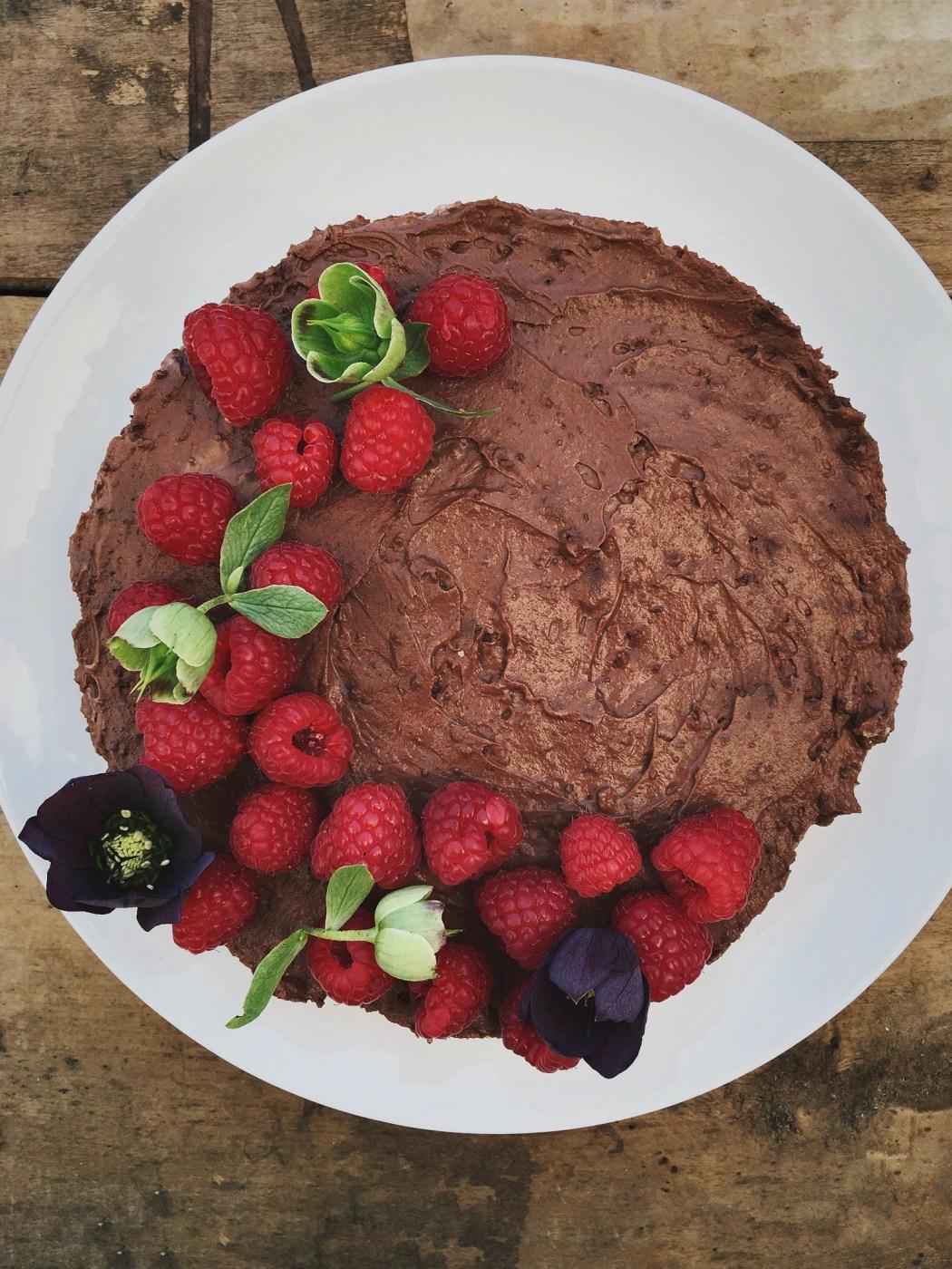 Chocolade en frambozen cheesecake