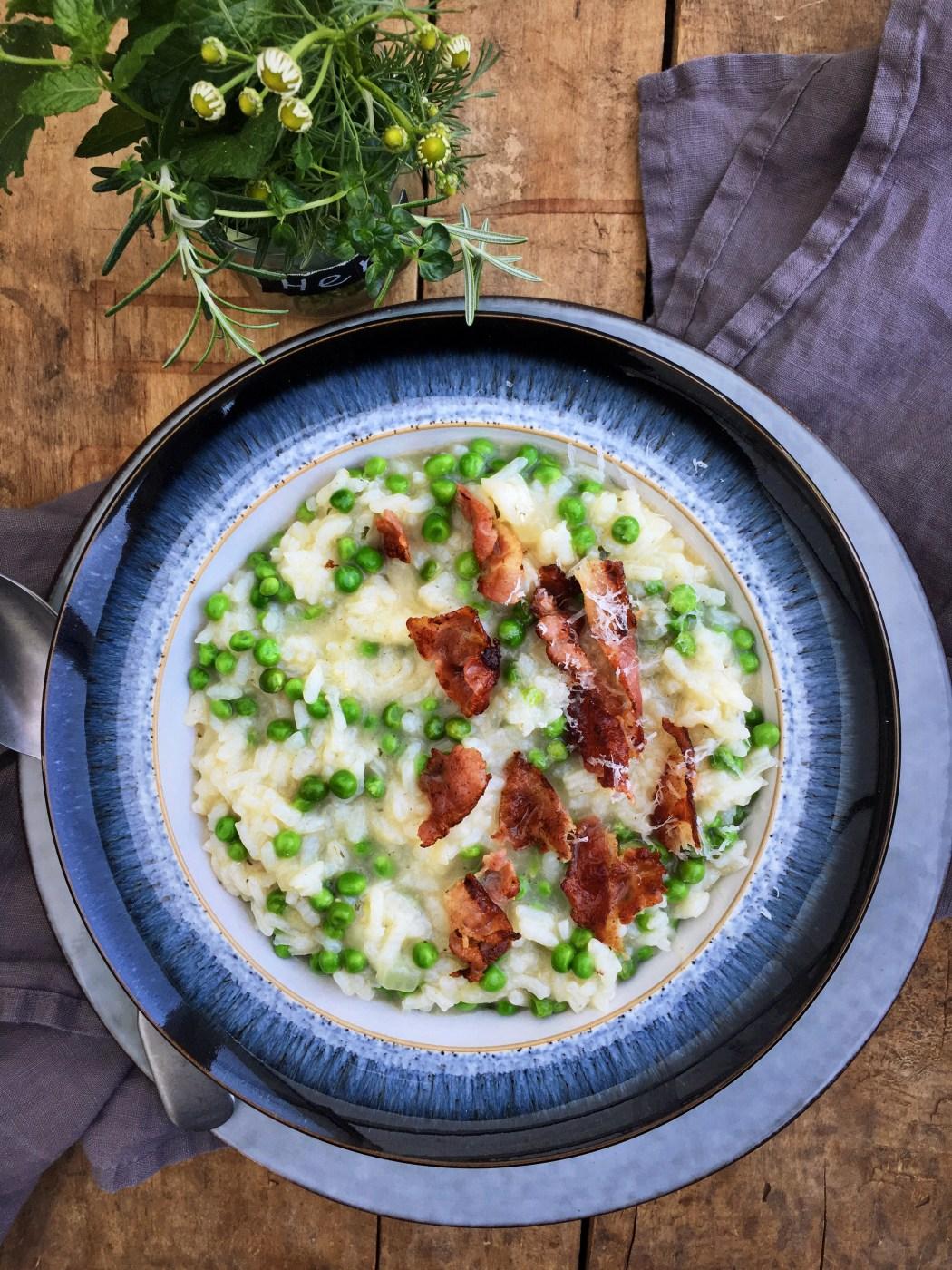 Risotto met doperwten en pancetta