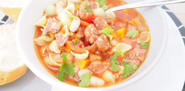Slow Cooker Chorizo Minestrone Soup