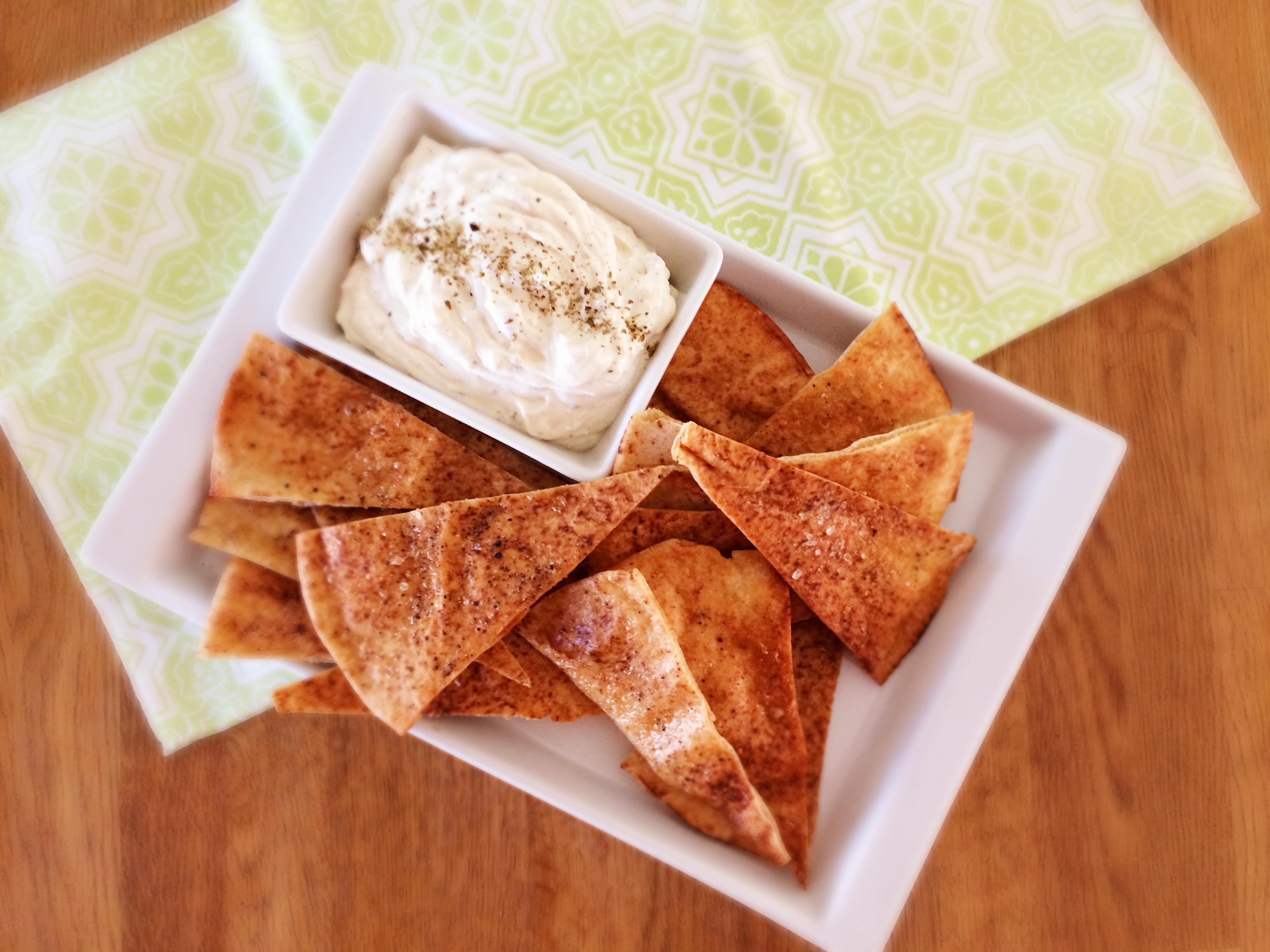 Lebanese Bread Garlic Chips with Whipped Feta Dip