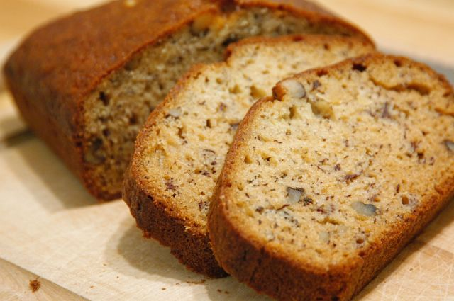 sliced banana nut bread