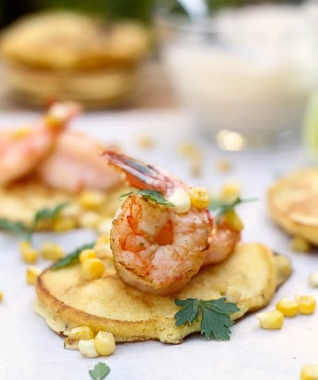 Corn Cakes with Shrimp and Tequila Lime Cream Sauce