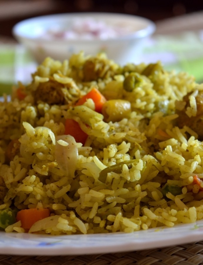 Coconut-Mint based Vegetable Biryani
