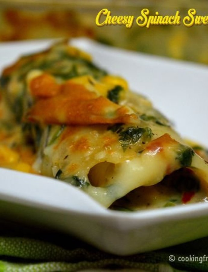 Cheesy Spinach Sweetcorn Cannelloni