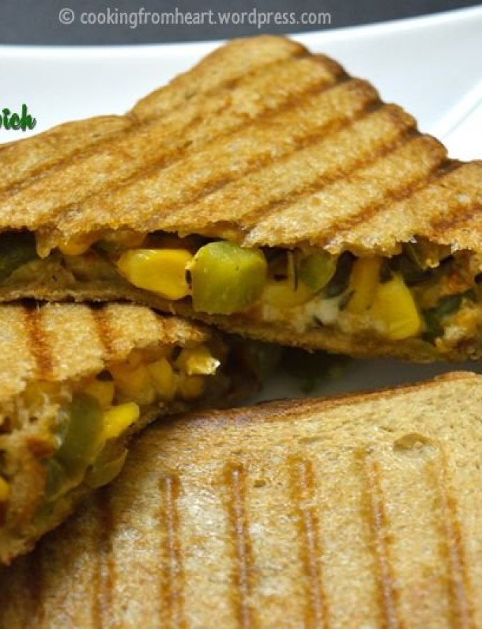 Grilled Corn Capsicum Sandwich | Easy Dinner Ideas