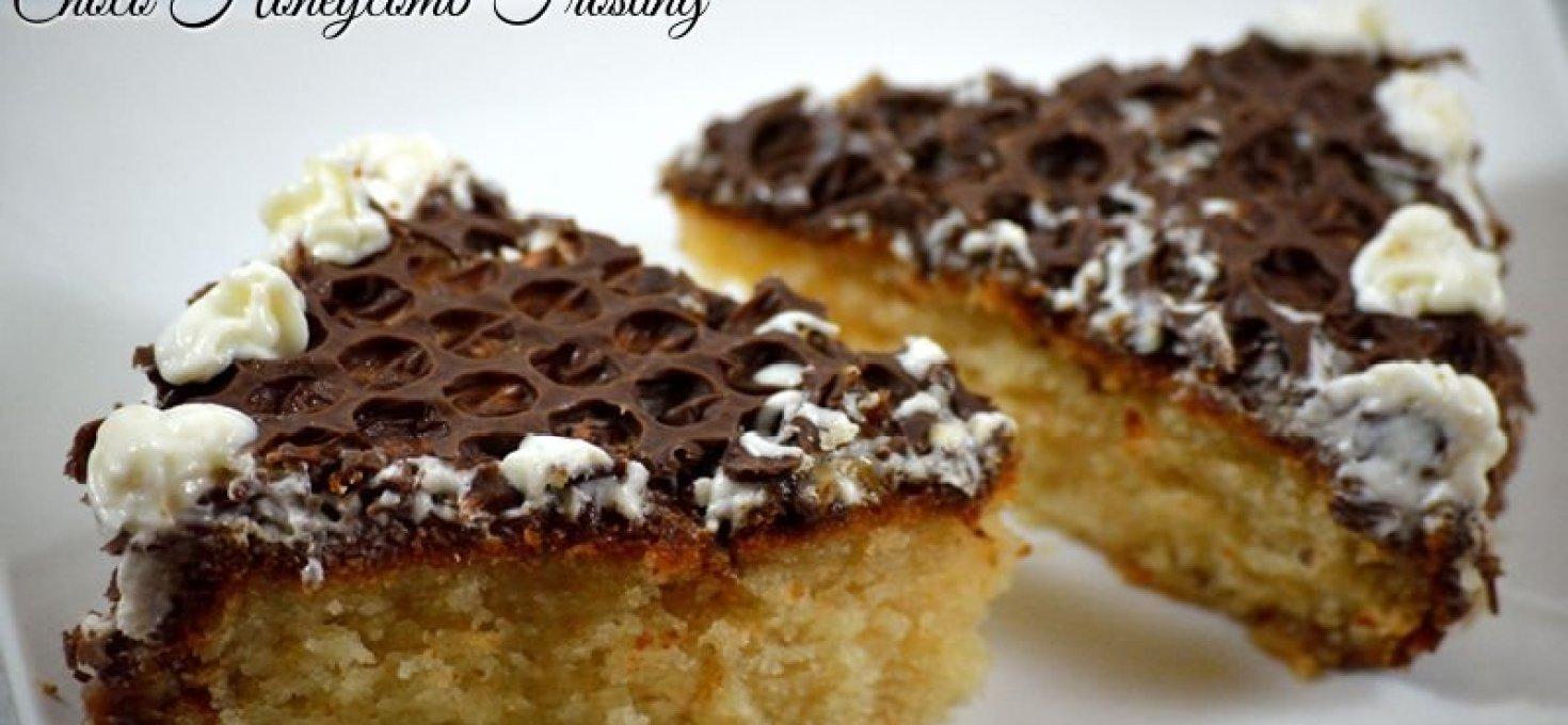 Eggless Vanilla Cake with Honeycomb Frosting | Birthday Cake