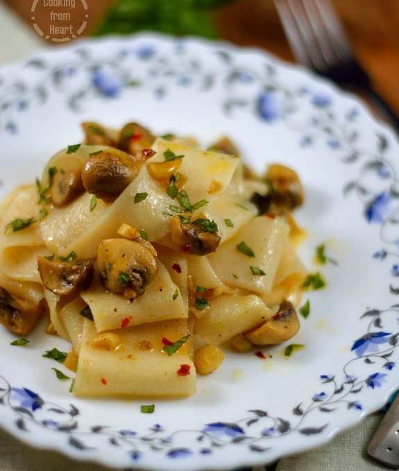 Pappardelle Pasta with Burnt Butter and Mushroom Sauce