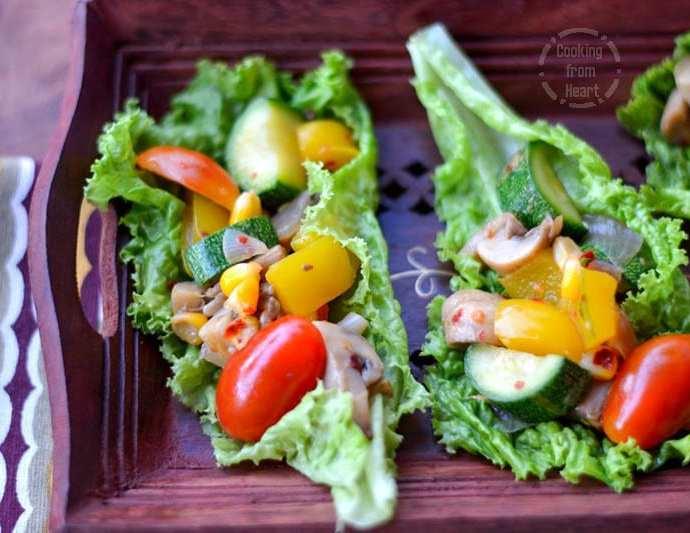 Lettuce Wraps | Quick Veggie Lettuce Wrap Salad
