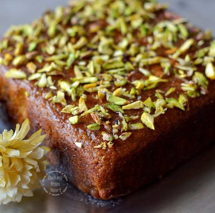 Eggless Pistachio and Rose Syrup Cake