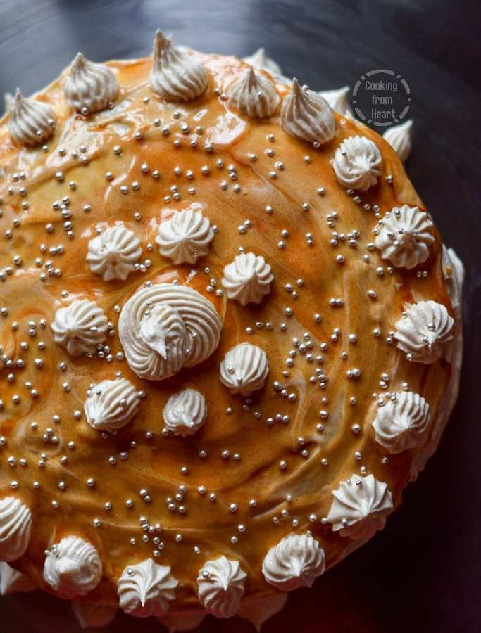 Eggless Caramel Cake with Salted Caramel Frosting