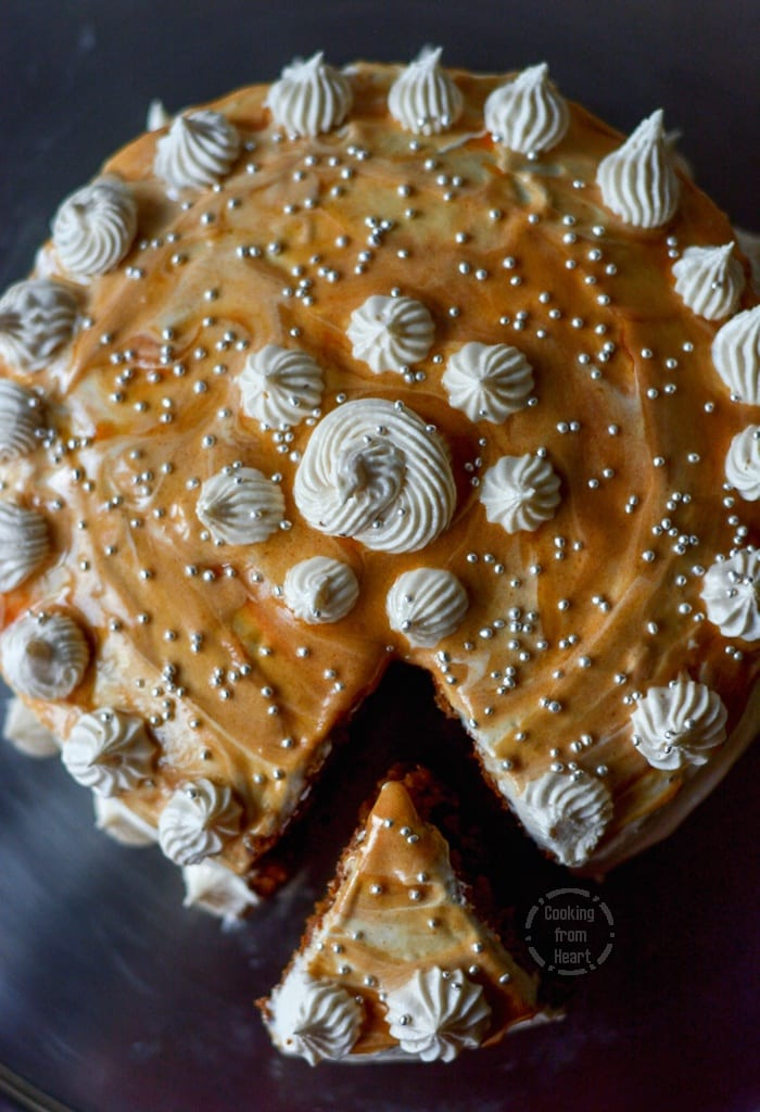 Salted Caramel Cake Recipe eggless caramel cake with salted caramel frosting | cooking from