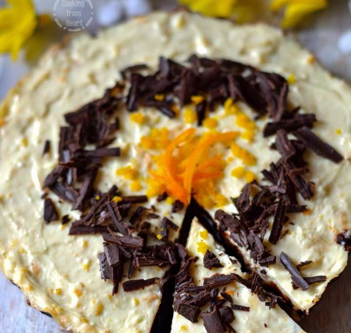 Eggless Chocolate Orange Cheesecake