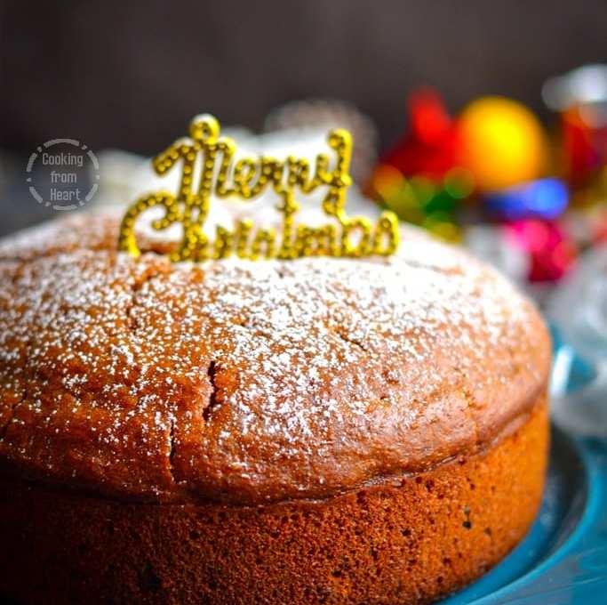 Eggless Christmas Fruit Cake   Eggless Caramel Fruit Cake