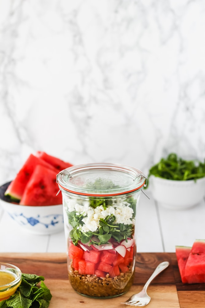 Watermelon Mason Jar Salad | cookinginmygenes.com