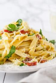 Leek & Pancetta Pasta   cookinginmygenes.com
