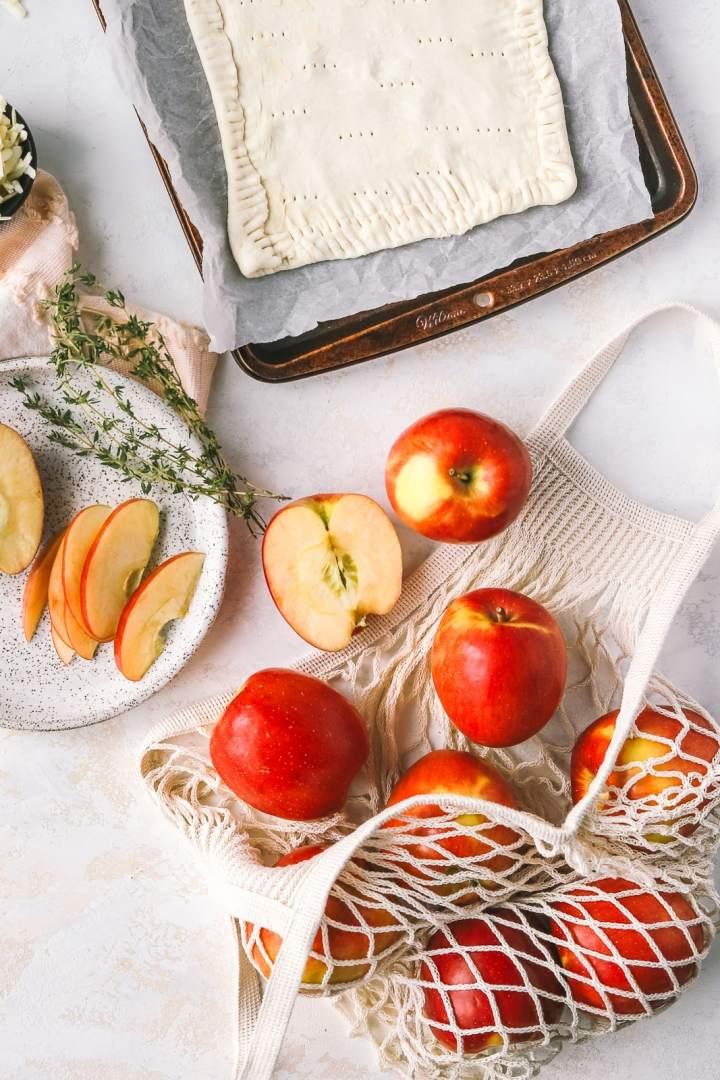 Savoury Apple Cheddar Tart with Leeks