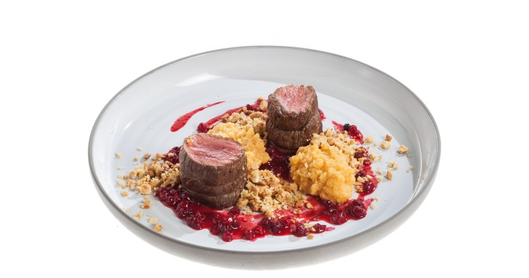 Veal tenderloin with quince puree and lingonberry sauce