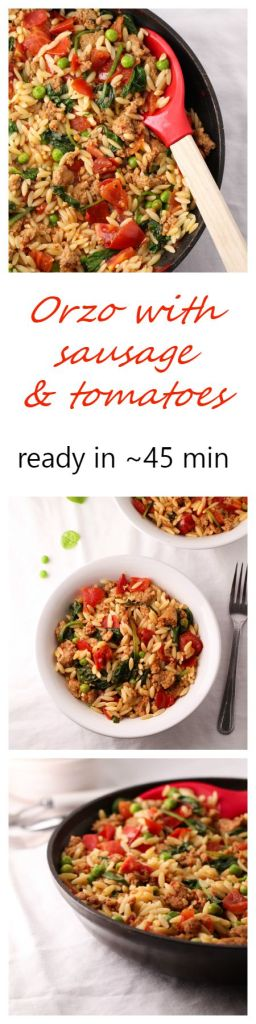 Ready in about 45 minutes this recipe for Orzo with sausage, tomatoes, spinach, and peas is a must for weekday dinners.