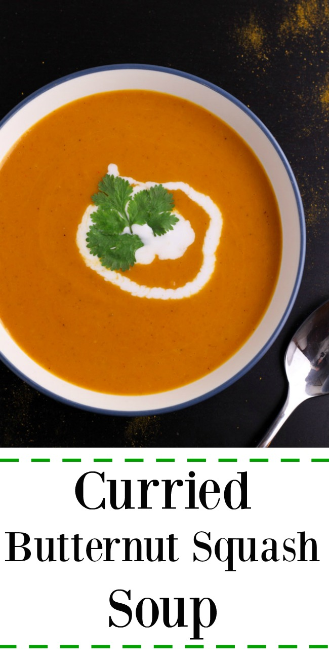 Simple recipe for vegan curried butternut squash soup. Delicious with the right amount of heat!