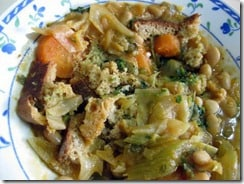 vegetarian ribollita stew with beans and cabbage