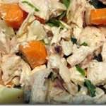 chicken salad with garlic, basil, ginger, carrot and green onion