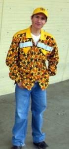 Guard in bright yellow print uniform