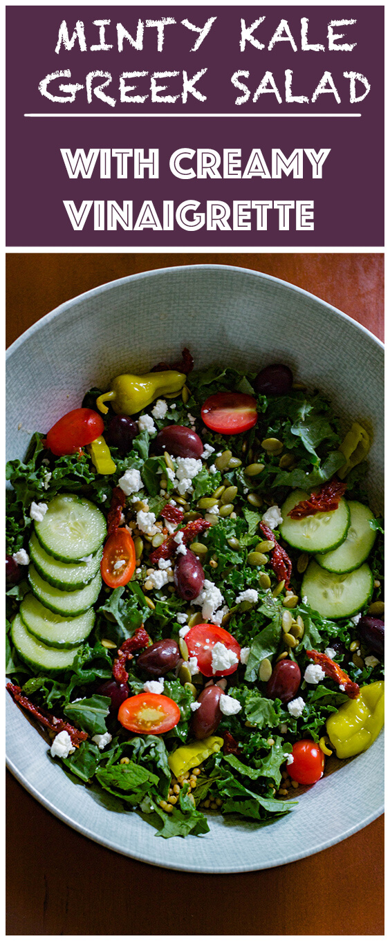 This Minty Kale Greek Salad with Creamy Vinaigrette is the perfect way to pack in all the healthy bright, colorful and flavorful superfoods in a bowl.