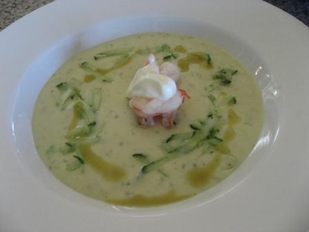 Cucumber Soup with prawns and basil oil 091228