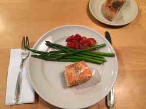 """Tis a gift to be simple,"" roasted salmon, asparagus and tomatoes."
