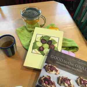 Cookbooks, Chez Panisse Fruit by Alice Waters, and Good to the Grain by Kim Boyce.