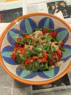 Broad Italian beans with onion and red pepper.