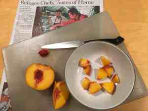 Dicing a peach.