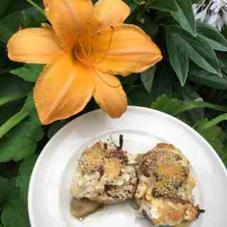 Baked Eggplant with Cheeses and Anchovy, and Daylilly blooming in the garden.