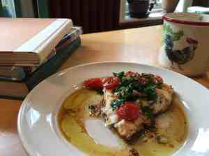 Broiled Red Snapper Fillet with Garlic Sauce.