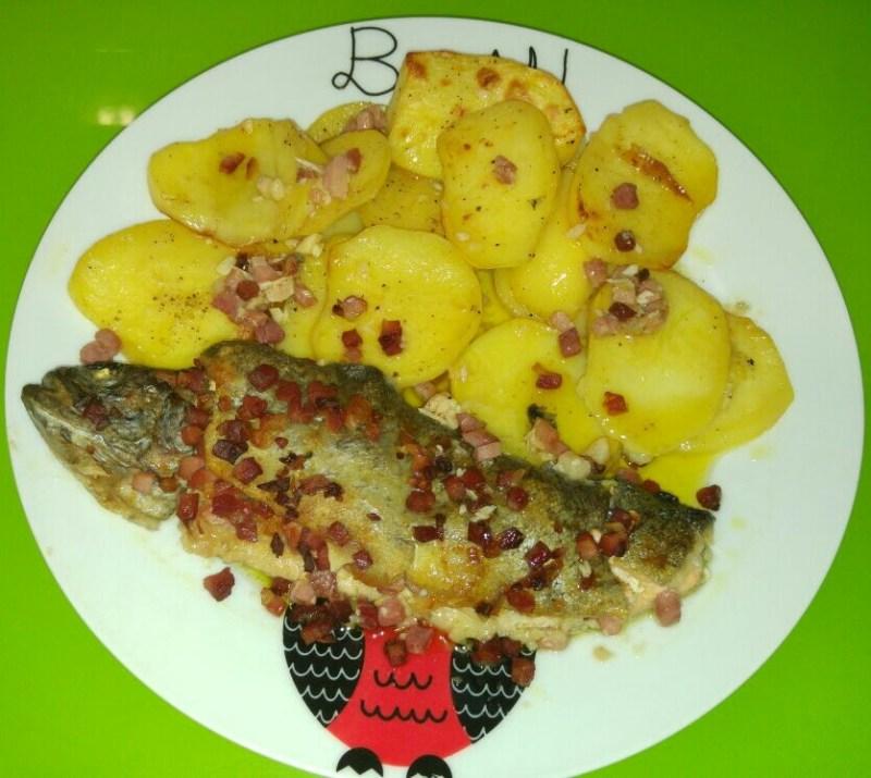 Truchas al horno con jamón