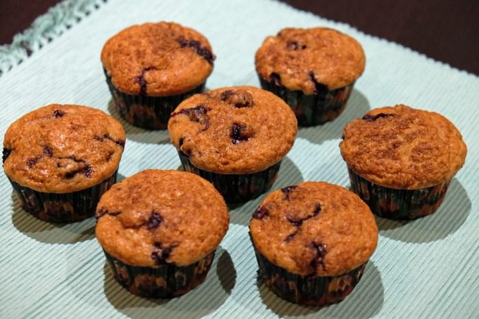 Muffins veganos con arándanos