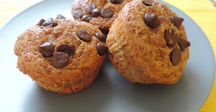 muffins pltano y pepitas de chocolate