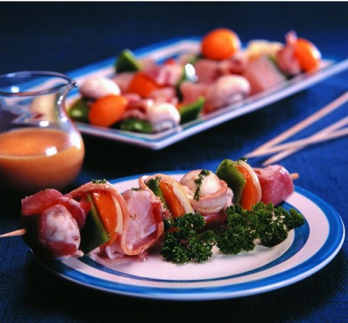 Fish and bacon kebabs