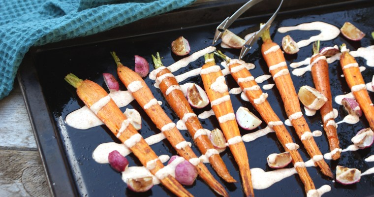 Roasted Carrots and Radish with Harissa Sauce