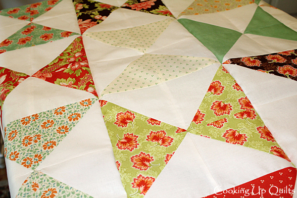 Hourglass blocks, HSTs, Fig Tree fabric